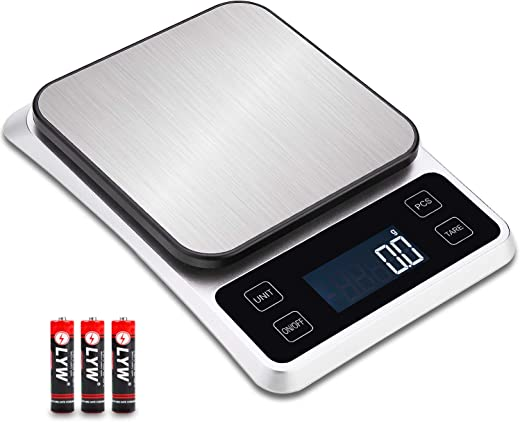 Digital Kitchen Weighing Scales,Electronic Cooking Appliance for Home, Food Baking Scale(0.5g to 5kg)with LCD Display 0.1g Accuracy, Tare and PCS Features, 5 Units/Silver