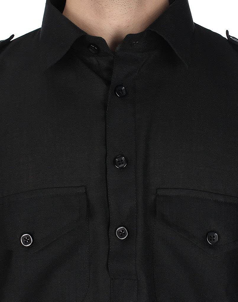 Royal Kurta Men's Pathani Suit Ocassional Linen 46 Black