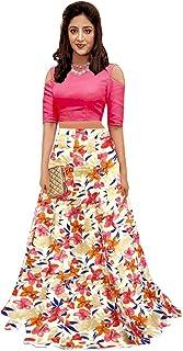 e2db5f8ce5e29d shelvinza's Women's Pink Crop Top and Multicolour Skirt or Lehenga  (MultiSummer, ...
