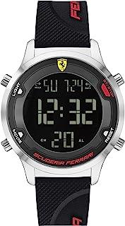 Ferrari Men's Digitrack Quartz Watch with Silicone Strap, Black, 18 (Model: 0830756)