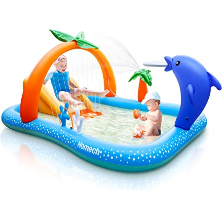Homech Inflatable Play Center Pool, Seaside Water Play Center with Water Slide, Coconut Palm Sprinkler, Ball Toss Game, Ring Toss Game, for Kids Children Ages 3+, 95'' x 75'' x 40''