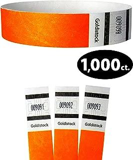 "Tyvek Wristbands - Goldistock Original Series Sunburst Neon Orange 1,000 Count - ¾"" Arm Bands - Paper-Like Party Armbands - Heavier Tyvek Wrist Bands = Upgrading Your Event"