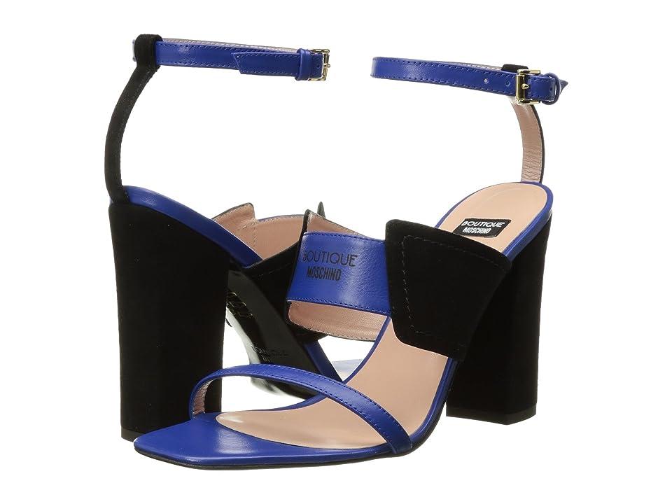 Boutique Moschino Tri-Strap Heel (Black/Blue) Women
