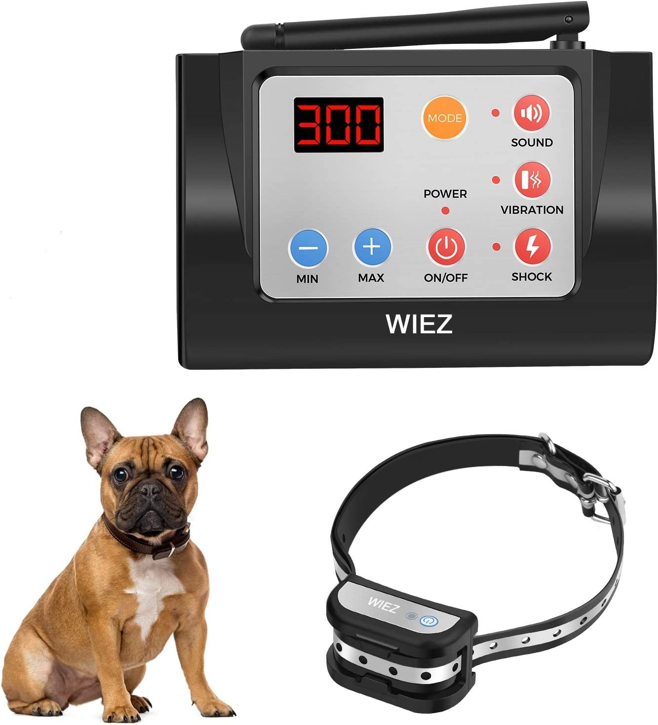 Waterproof Adjustable Range Harmless for All Dogs WIEZ Dog Fence Wireless /& Training Collar Outdoor 2-in-1 Electric Wireless Fence w//Remote Reflective Stripe