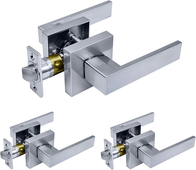 BESTTEN Square Passage Door Lever Set Monaco Series Satin Chrome Heavy Duty Door Handle No Lock Commercial and Residential
