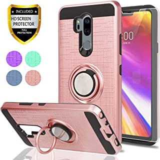 LG G7 ThinQ Phone Case,LG G7 Cases with HD Phone Screen Protector,Ymhxcy 360 Degree Rotating Ring & Bracket Dual Layer Resistant Back Cover for LG G7 2018-ZH Rose Gold-1