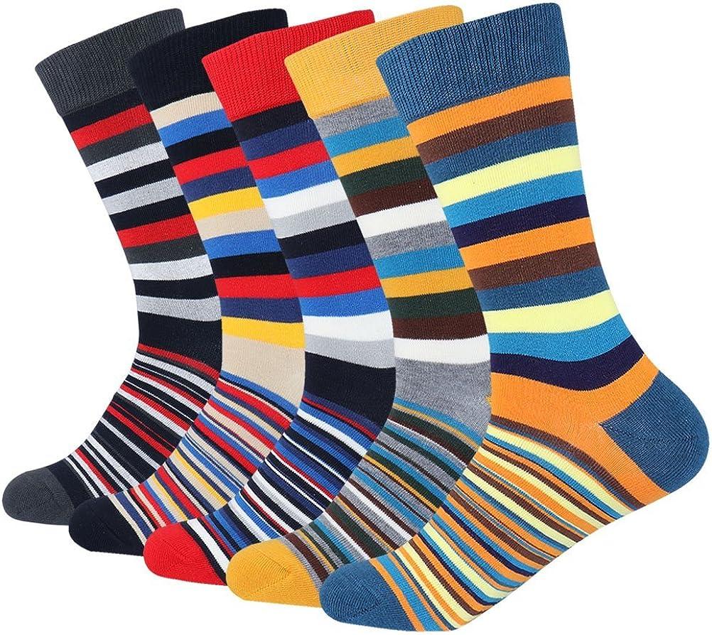 Cotton Idea Men's Colorful Striped Argyle Guitar Dress Socks for Men Cozy Crew Socks