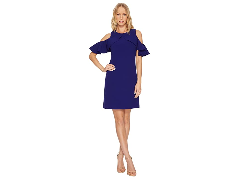 Vince Camuto Cold Shoulder Shift with Ruffle Sleeves (Cobalt) Women