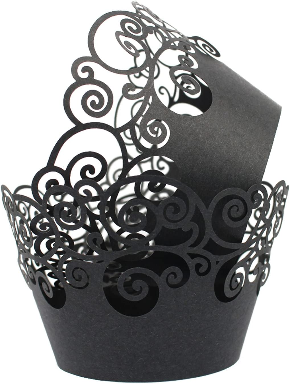 KPOSIYA Cupcake Wrappers 60 Filigree Cu Bake Gifts Paper Cake At the price Artistic