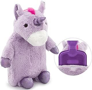 HomeTop Premium Classic Rubber Hot Water Bottle with Cute Unicorn Cover (2L, Purple)