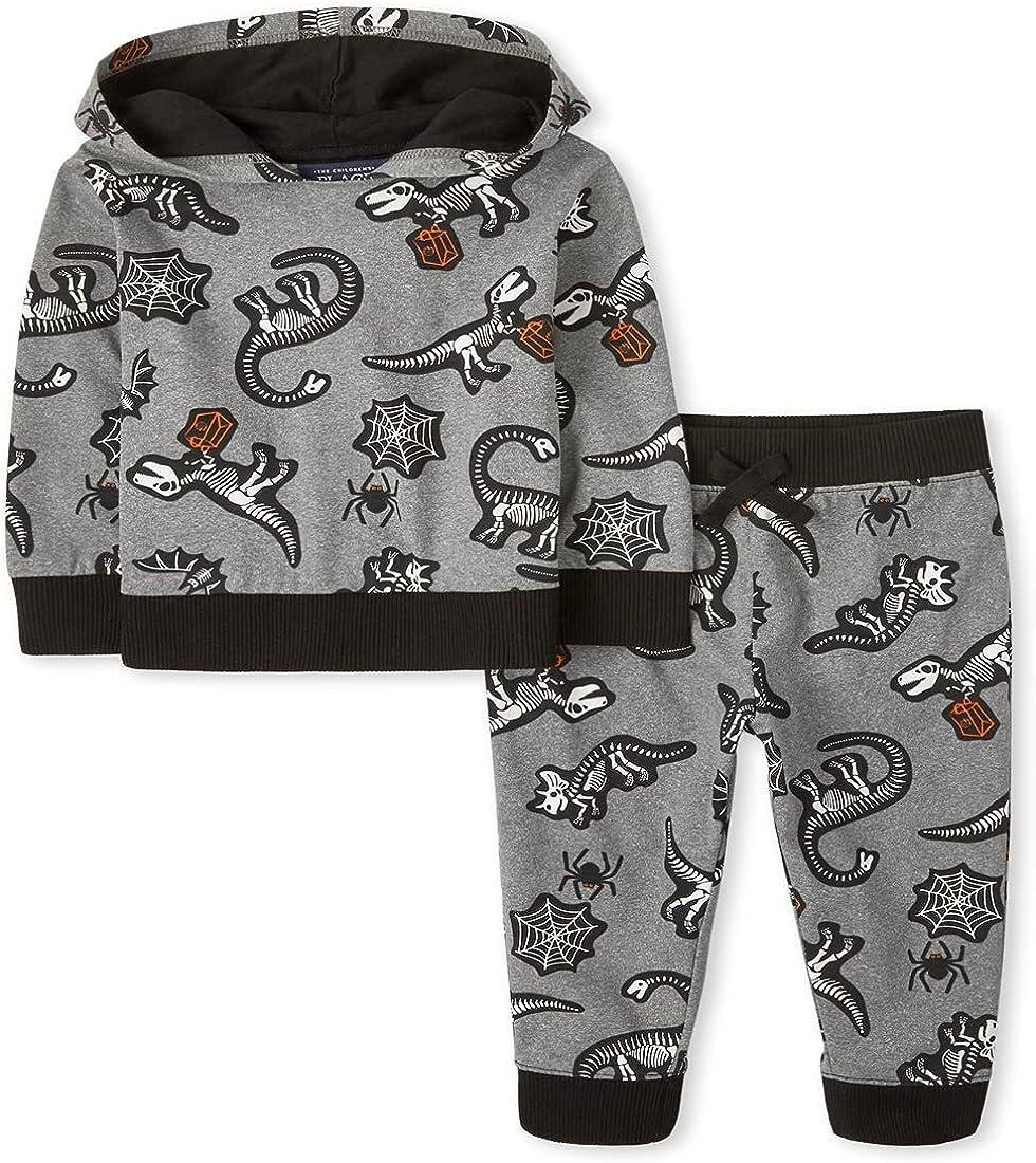 The Children's Place Toddler Boys Halloween Long Sleeve Skeleton Dino Print Hoodie and Fleece Jogger Pants 2-Piece Set