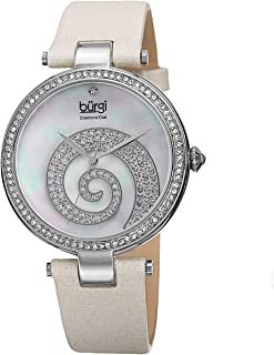 Burgi Women's Multi Color Dial Satin Band Watch - Bur143Wt, Off White Band, Analog Display