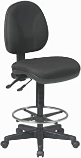 Office Star Deluxe Ergonomic Seat and Back Pneumatic Drafting Chair with Lumbar Support and Adjustable Chromed Footring, B...
