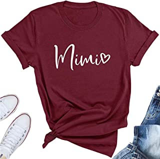 Mimi Heart Graphic Cute Grandma T Shirt for Women Letter Print Short Sleeve Tees Casual Mimi Gift Tops with Sayings