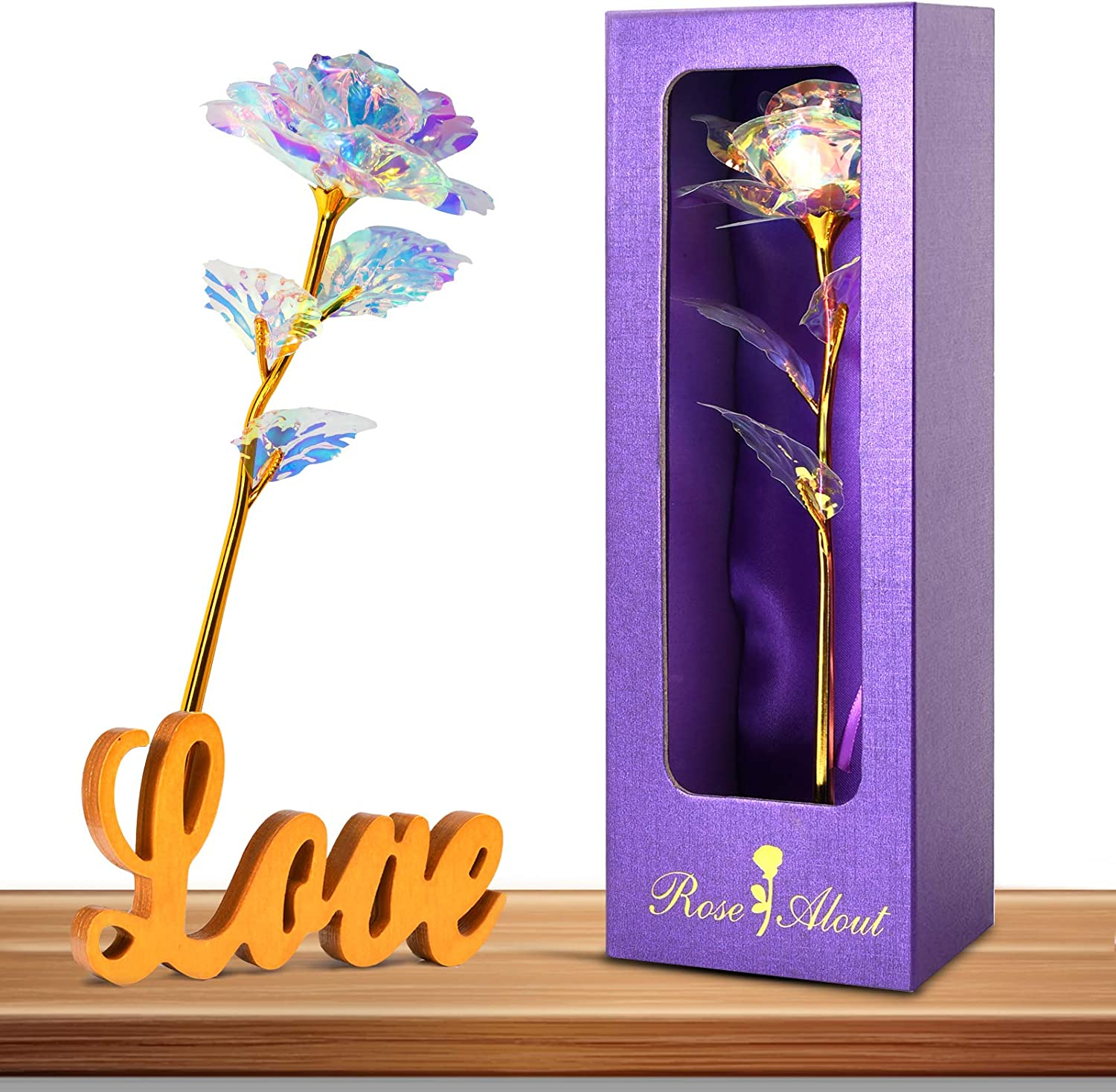 Innge Ranking TOP17 Gifts for Mom Rainbow Rose Flower Stand Artificial w shipfree Love