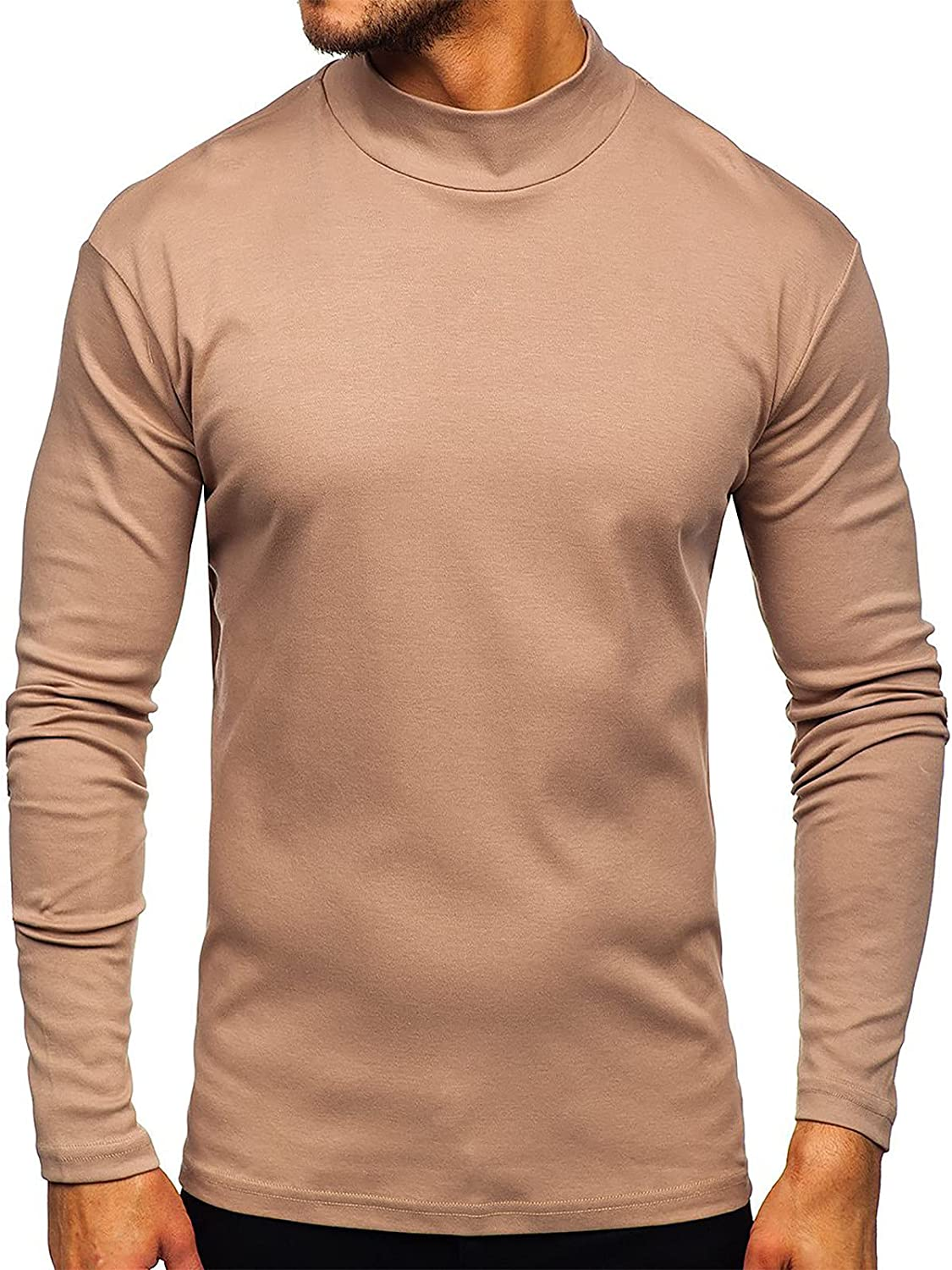 Men Crewneck T-Shirts, Long Sleeve Pullover Sporty Tops Casual Solid Cotton Premium Fitted Modern Basic Blouse
