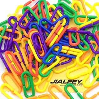 JIALEEY 100 Piece Plastic C-Clips Hooks Chain Links Rainbow C-Links Children's Learning Toys Small Pet Rat Parrot Bird Toy...