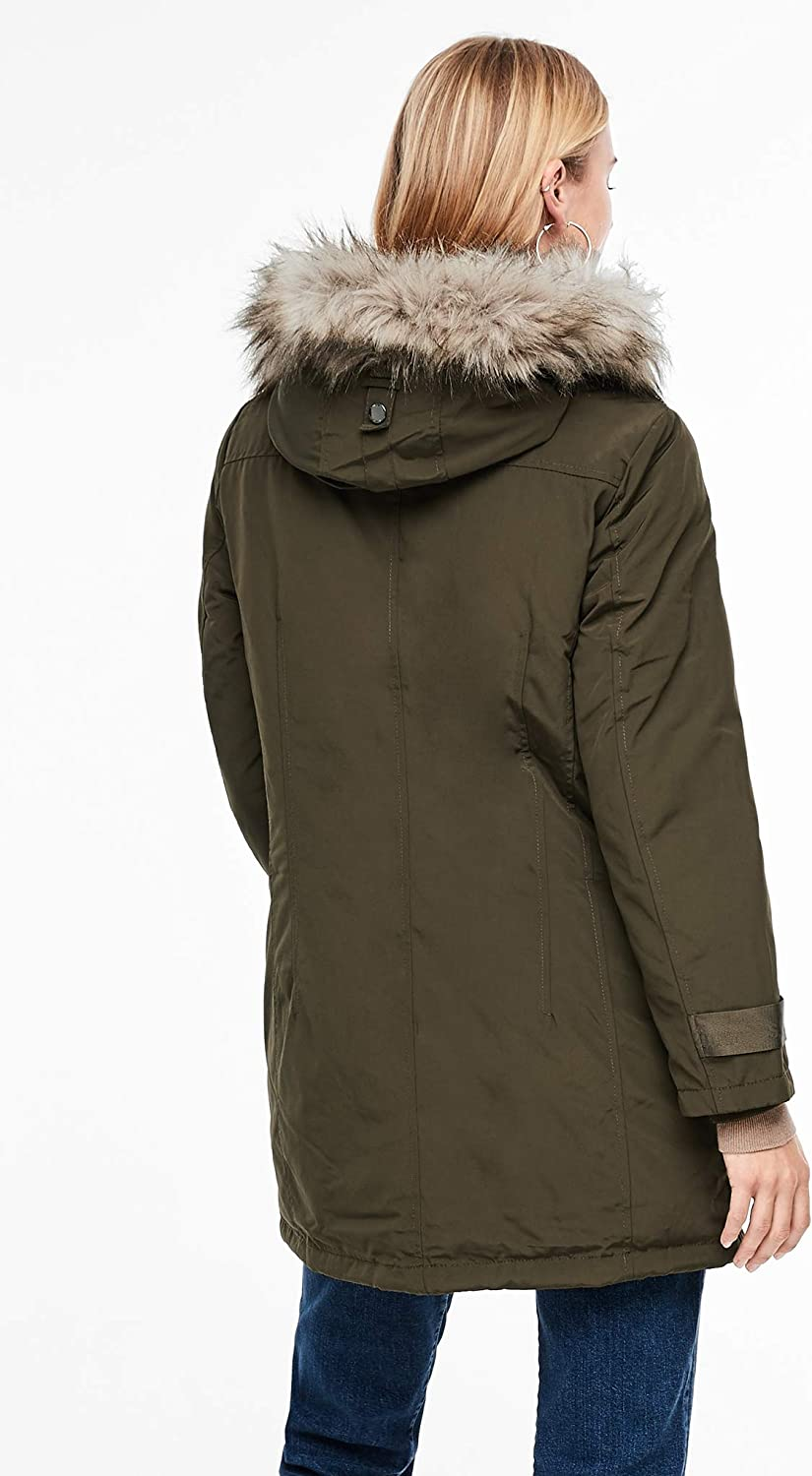 s.Oliver RED Label Damen Wintermantel mit Fake Fur Grün (Taupe 7946)