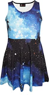 Insanity Clothing Girl's Children's Awesome Blue Galaxy Space Universe Print Sleeveless Skater Dress
