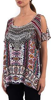 Inoa Silk Short Summer Cold Shoulder Casual Boho Kaftan Top for Women