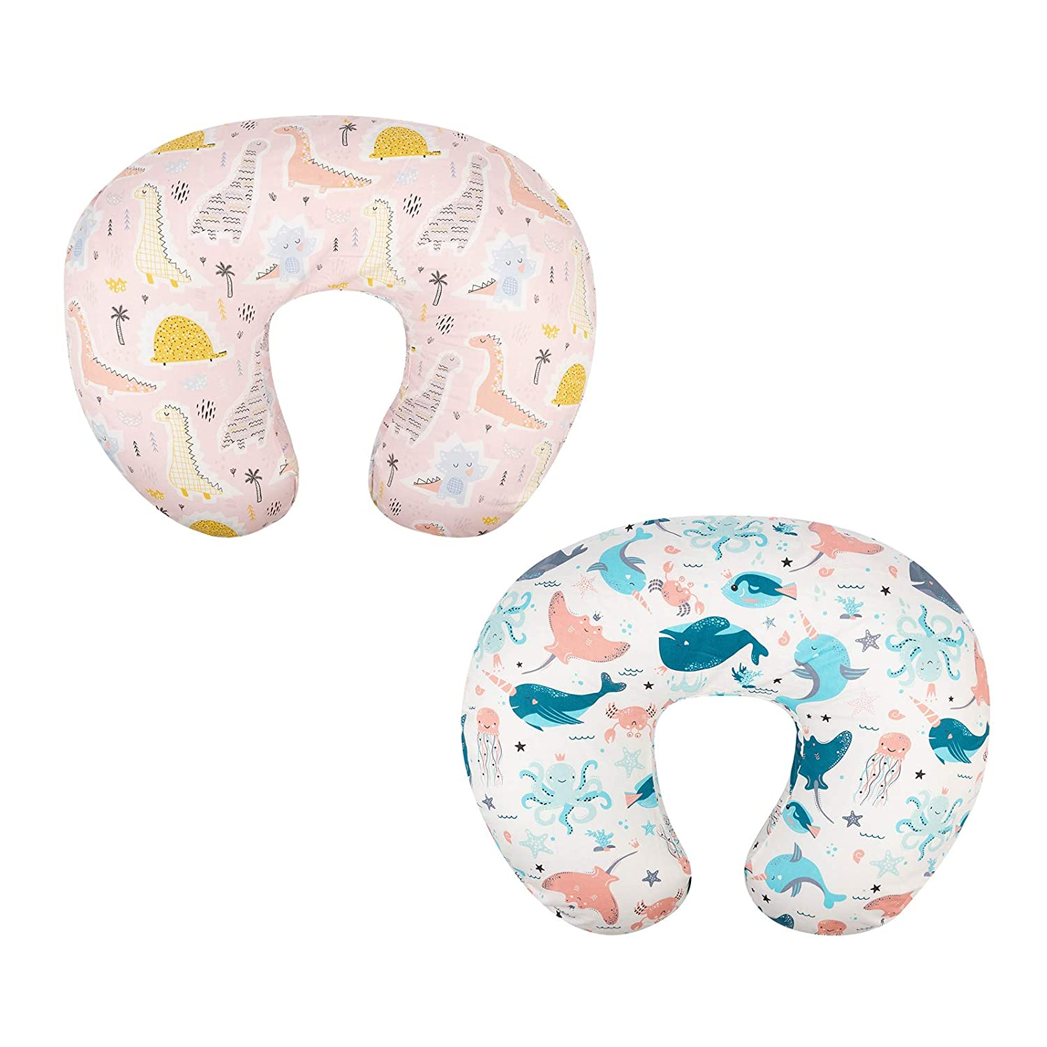 Babygoal Nursing Pillow Covers Slipcovers for Breastfeeding Moms,100% Organic Woven Cotton,20x16x5.5in Maternity Breastfeeding Newborn Infant Feeding Cushion Cover,2 Pack 2CUPW13-B