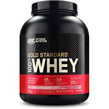 Optimum Nutrition Gold Standard 100% Whey Protein Powder, Delicious Strawberry, 5 Pound (Packaging May Vary)