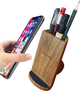 DULEE Wireless Charger with Wooden Pen Holder Qi Fast Charger for iPhone Xs Max/XR/XS/X/8/8 Plus/Samsung Galaxy S9 / S9+ / S8 / S8+ / S7 Edge/Note 8 / Note 9/Google Nexus4/5/6/7,Brown