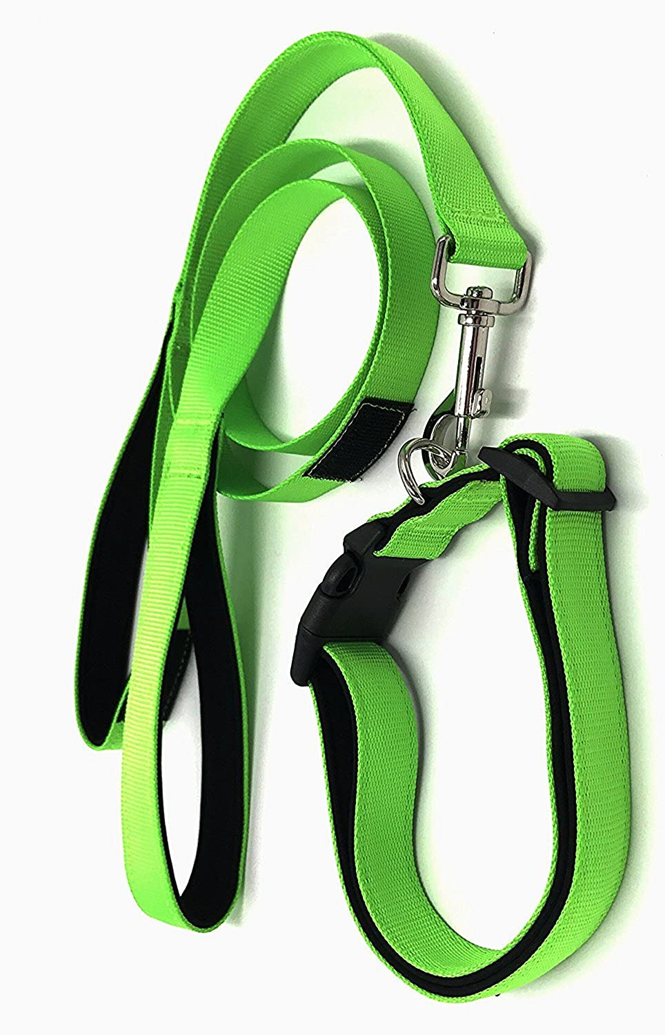 PetsCaptain Padded Double Handle Dog Leash (20  and 48 ) and Padded Collar for Pet with Neck Size 16 27 , Yellow Green,PSCLC0536YNG