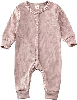 طفلة بوي الصلبة مضلع رومبير بذلة موجز للجنسين كم طويل الرقبة O- رومبير الملابس المصنوعة من القطن (Color : Gray, Size : 12M)