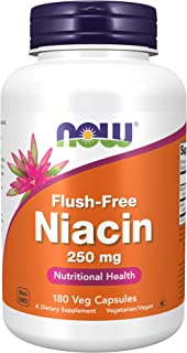 NOW Supplements, Niacin (Vitamin B-3) 250 mg, Flush-Free, Nutritional Health, 180 Veg Capsules