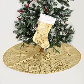 wlflash Christmas Tree Skirt 48 Inches Hot Stamping with 1 Free Stocking for Xmas Holiday Decorations Tree Ornaments (Gold,Flannelette)