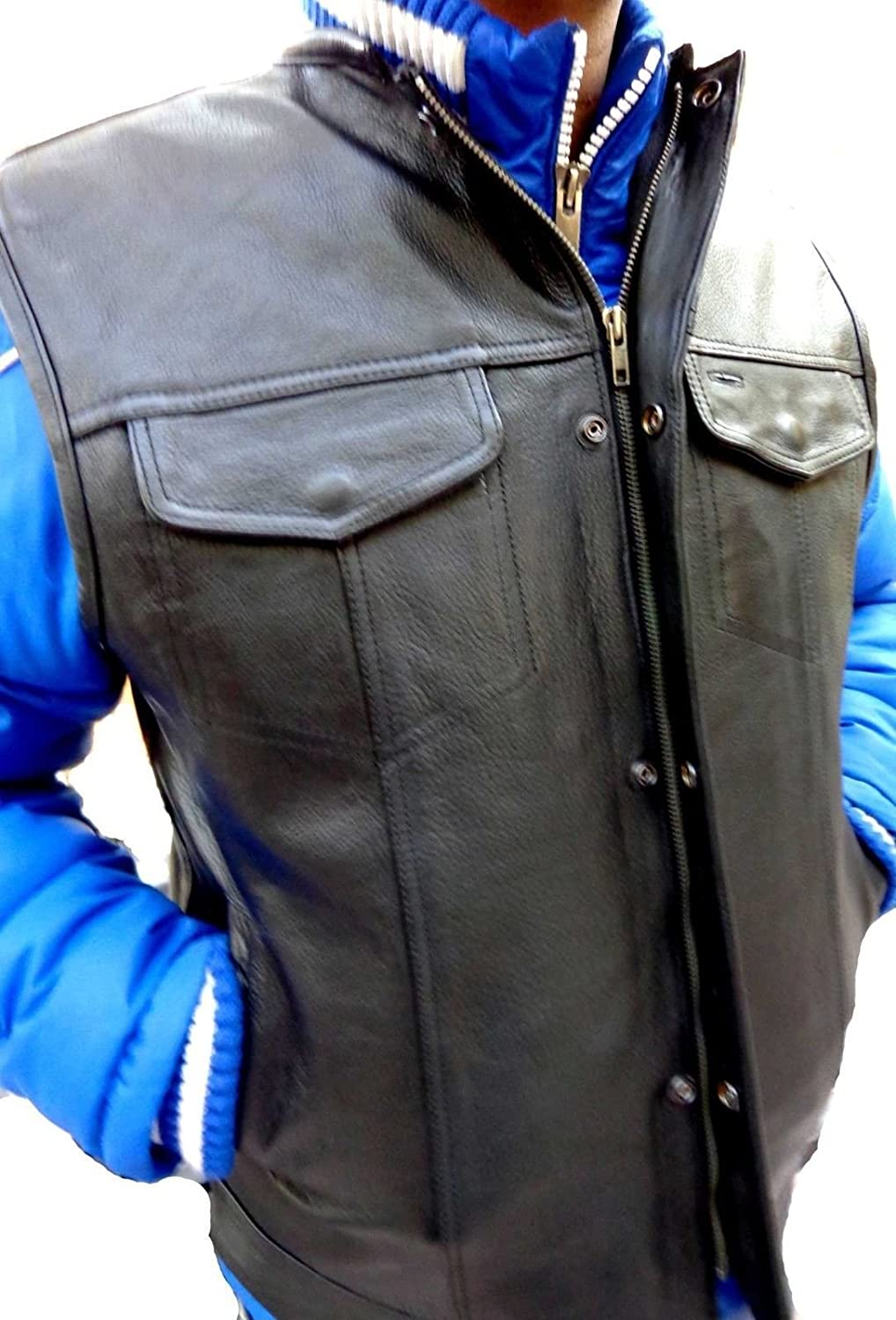 Men's Motorcycle Son of Anarchy Style Naked Leather Vest with 2 Gun Pocket