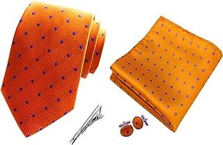 MENDENG Mens Burgundy Paisley Necktie Party Tie Clip Pocket Square Cufflinks Set