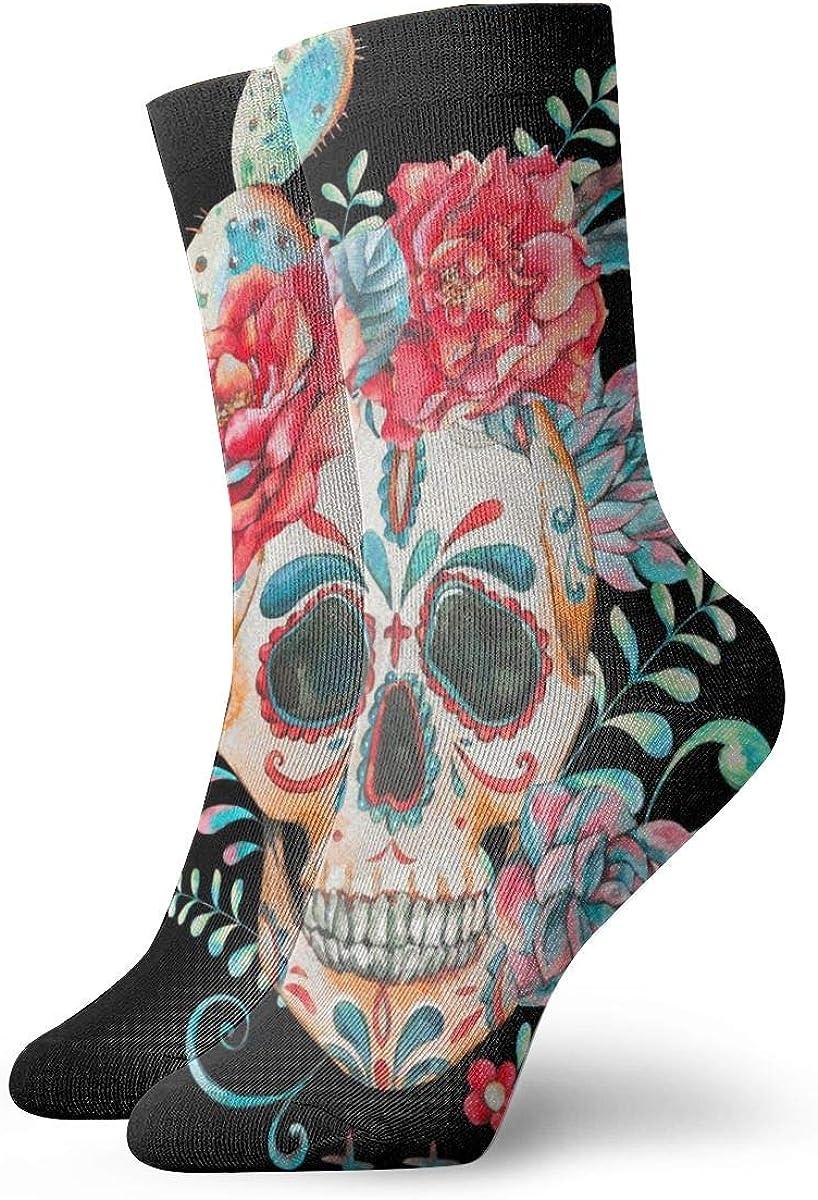 Casual Socks Cactus Rose Flower Novelty High order f Crew Japan's largest assortment Skull Sugar