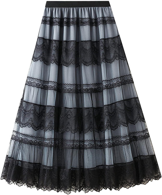 MEWOW Women's Elastic Waist Patchwork Lace Mesh A Line Calf Long Pleated Skirt