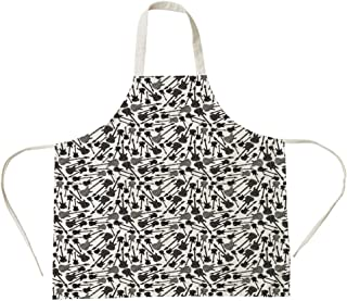3D Printed Cotton Linen Big Pocket Apron,Music,Grunge Style Hand Drawn Style Electric Guitars Sketch Rock Pop Vibes Print,Black Grey White,for Cooking Baking Gardening