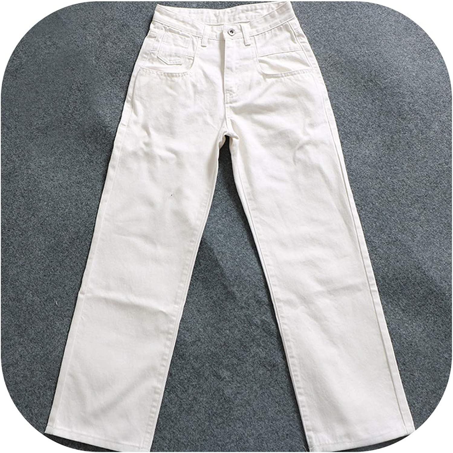 Small Thumb Women Jeans Wide Leg Casual Loose Vintage bluee White Trousers Oversize Denim Pants
