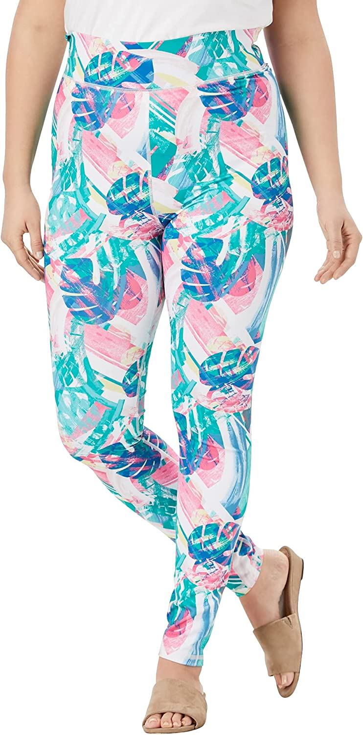 Roamans Women's Plus Size Ankle-Length Performance Legging Stretch Yoga Workout Pants - 18/20, Multi Tropical Abstract