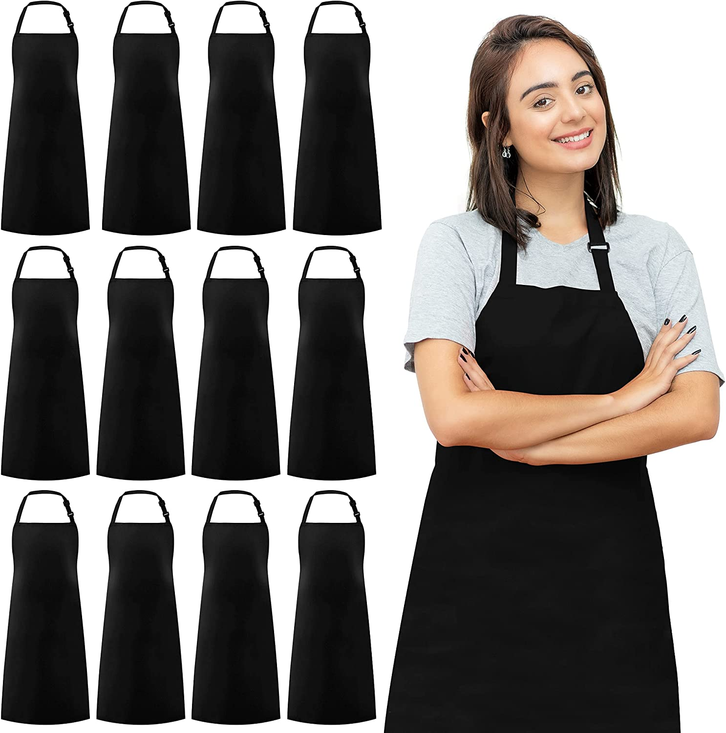 Syntus 12 Pack Adjustable Bib Apron Waterdorp Resistant Cooking Kitchen Aprons for BBQ Drawing DIY Aprons for Women Men Chef, Black