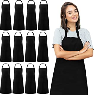 Syntus 12 Pack Adjustable Bib Apron Waterdrop Resistant Unisex Cooking Kitchen Aprons for BBQ Drawing, Women Men Chef, Black