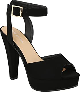 TOP Moda Women's BONICA-27 Nubuck Cut Out Stacked Heel Open Toe Platform Sandals