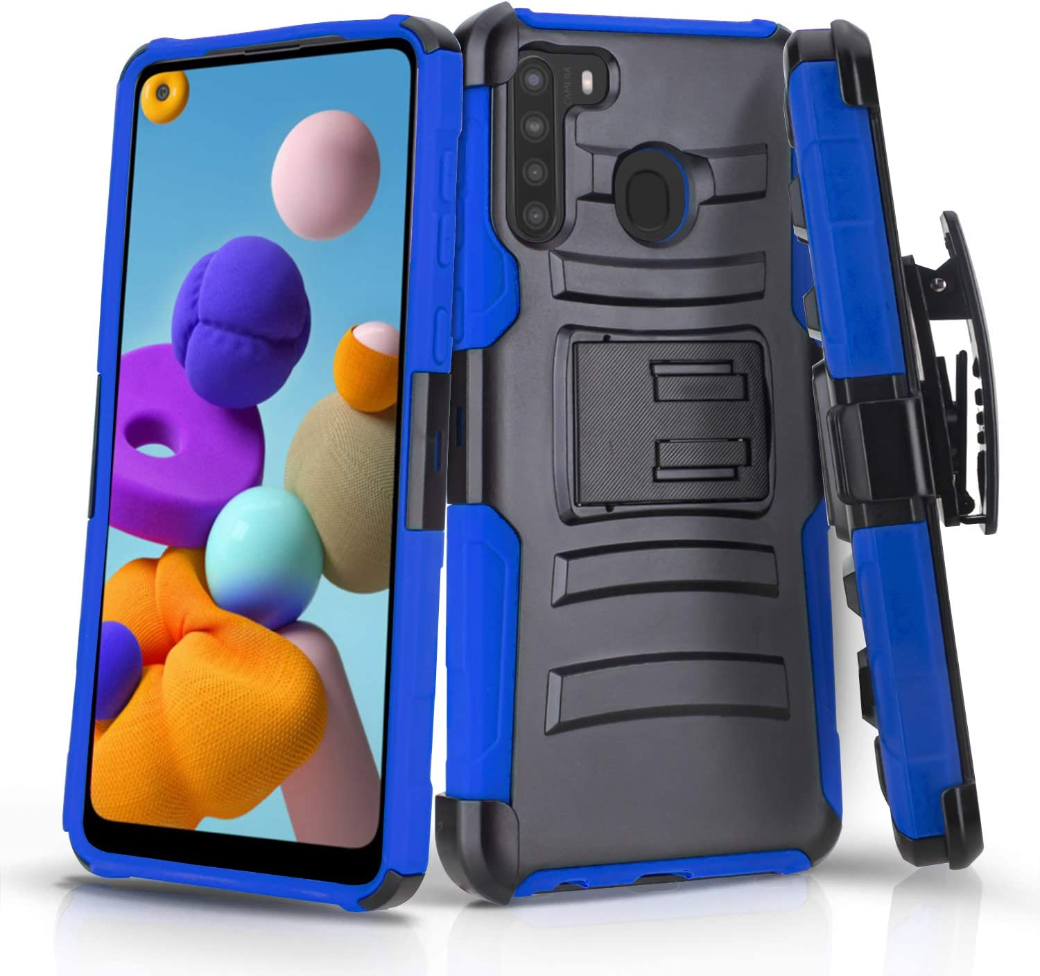 CasemartUSA Phone Case for [Samsung Galaxy A21], [Refined Series][Blue] Shockproof Cover with Built-in Kickstand & Belt Clip Holster for Samsung Galaxy A21 (Verzion, Boost Mobile, T-Mobile, Metro)