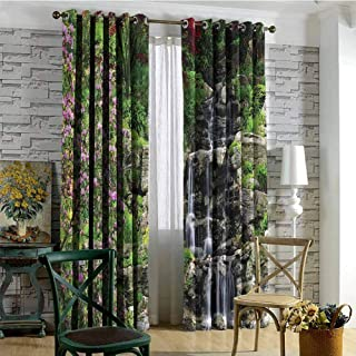 CostomDIY-drapes Grommets Curtain Set of 2 Panels, Japanese Waterfalls Cracked Rocks Printed Darkening Curtains, 84