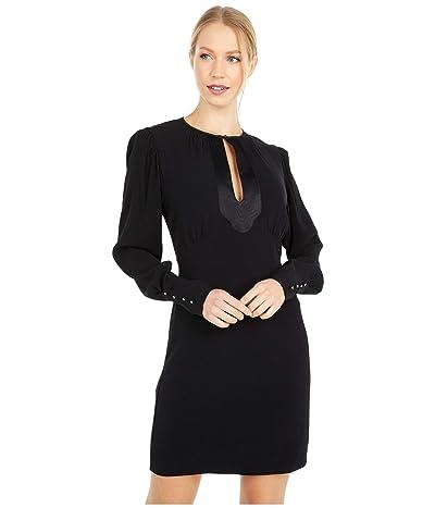 Nicole Miller Satin Back Crepe Keyhole Mini Dress (Black) Women