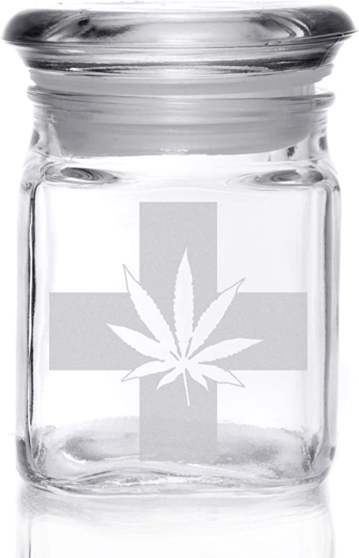 Alder House Market 4 Ounce Square Glass Herb Jar With Lid Engraved With Medical Marijuana Style Leaf And Cross