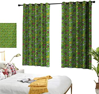 """RuppertTextile Customized Curtains Unicorns with Plants and Food Donuts Strawberries Heart Shooting Stars Cartoon Style 72"""" Wx63 L, for Living, Dining, Bedroom (Pair)"""