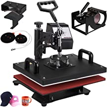 VEVOR 12 X 15 Inch 5 in 1 Heat Press Digital LCD Controller T Shirts Press Machine Swing Away Design Heat Press Machine Transfer Sublimation Hat Mug Cap Plate Mouse Pad(12x15INCH 5IN1 Red)
