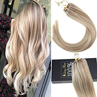Sunny 18inch Micro Ring Hair Extensions Human Hair Dark Ash Blonde Mixed Bleach Blonde #18/613 Highlight Remy Micro Loop Hair Extensions 1g/s 40g+10g for free,50g/pack in Total.