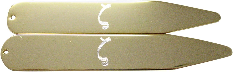 Gold Toned Etched Greek Letter Zeta Collar Stays