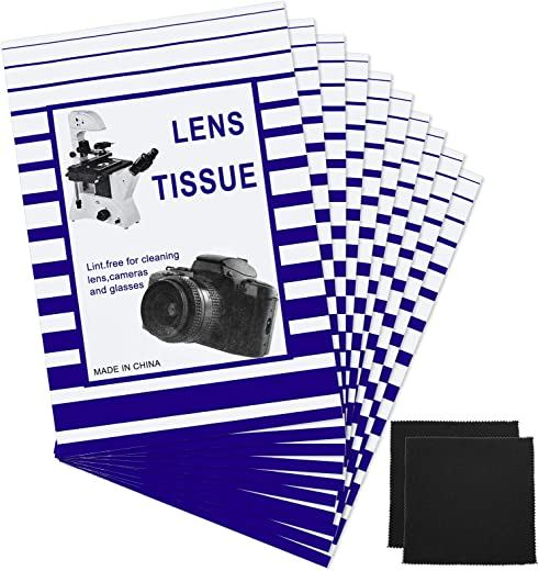 500 Pieces Lens Cleaning Paper Tissue and 2 Double Sided Cleaning Cloth-Lens Cleaning Paper for Camera Lenses, Microscopes, Computer Screens,...
